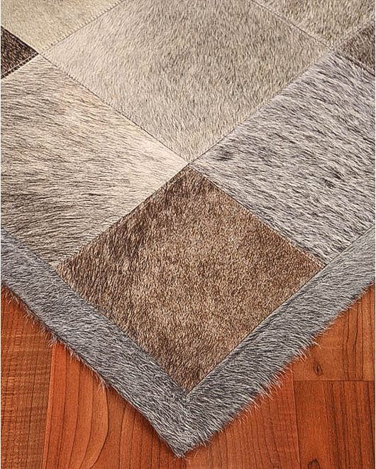Polo Cowhide Patchwork Leather Rug - Clearance