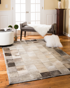 Polo Cowhide Patchwork Leather Rug w/ FREE Rug Pad