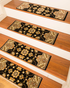 Sherwood Traditional  Style Carpet Stair Treads, Black
