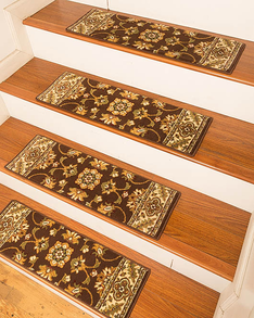 Sherwood Traditional  Style Carpet Stair Treads, Chocolate