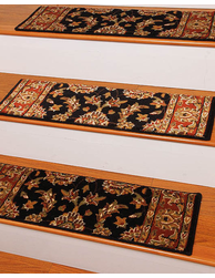 Sydney Traditional Style Carpet Stair Treads, Black