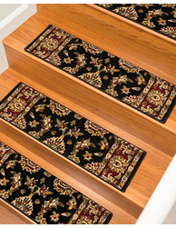 Sydney Traditional Style Carpet Stair Treads, Black w/ Landing Mat