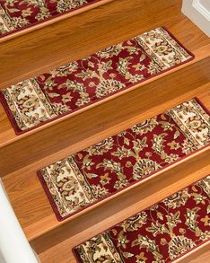 Sydney Traditional Style Carpet Stair Treads, Red w/ Landing Mat