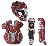 All-Star Maroon/Silver Adult System 7 Professional/College Catcher's Gear Set CKPRO1