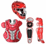All-Star Red/Silver Adult System 7 Professional/College Catcher's Gear Set CKPRO1