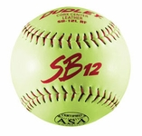"Dudley 12"" Yellow Slowpitch SB-12L RF Softball 4A-137Y -- 1 DZ"