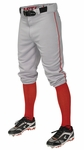 Easton Adult Pro + Piped Knicker Gray/Red Baseball Pants A167105GYRDS
