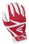 Easton White/Red Youth Z3 Hyperskin Batting Gloves