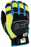 Franklin Black/Blue/Yellow Youth Shok-Pro Batting Gloves 21350F1-P