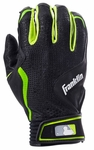 Franklin Black/Green Youth FreeFlex Batting Gloves