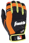 Franklin Black/Neon Orange/Optic Yellow Youth MLB X-Vent Pro Batting Gloves 21353F1