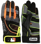 Franklin Black/Orange Youth Insanity Batting Gloves 20803F4
