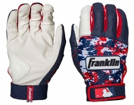 Franklin White/Navy/Red Adult Digitek Batting Gloves 750