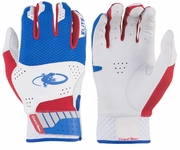 Lizard Skin Komodo Elite Batting Glove Youth - White / Blue / Crimson