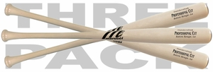 Marucci Whitewash Professional Cut Maple Wood Baseball Bat - 3-PACK