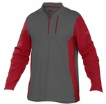 Rawlings Adult Gray/Scarlet Long Sleeve Shirt W/Heart of the Hide Logo TECHF