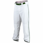 "Rawlings Men's White/Green Premium Plated 1/8"" Piped Baseball Pants BBXPROFLR150P"
