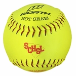"Worth 12"" Hot Seam Yellow Softball W/NFHS/ASA Stamp PXWRYL -- 1 dz"