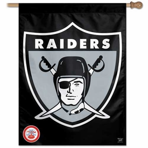 Raiders 27 Inch 1963 Logo Vertical Flag - Click to enlarge