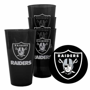 Raiders Four Pack 16oz Plastic Pint Set - Click to enlarge