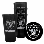 Raiders Four Pack 16oz Plastic Pint Set