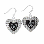 Raiders Glitter Stone Heart Earrings