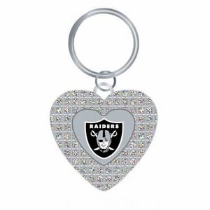 Raiders Glitter Stone Heart Key Ring - Click to enlarge