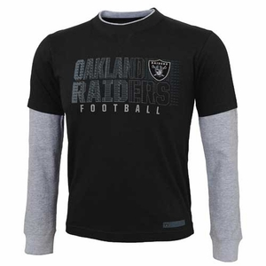 Oakland Raiders Juvenile Faux Layer Long Sleeve Tee - Click to enlarge