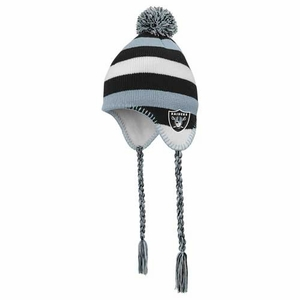 Raiders Juvenile Tassle Knit Hat with Pom - Click to enlarge