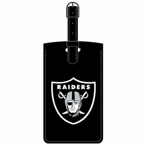 Raiders Leatherette Logo Bag Tag - Click to enlarge