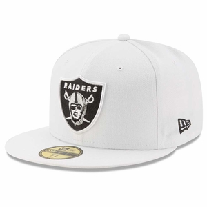 Raiders New Era 59Fifty White Logo Fitted Cap - Click to enlarge