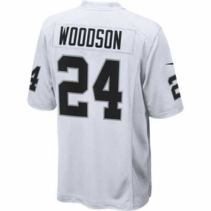 Raiders Nike Charles Woodson White Game Jersey - Click to enlarge