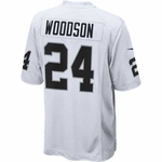 Raiders Nike Charles Woodson White Game Jersey