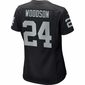 Raiders Nike Womens Charles Woodson Black Game Jersey - Click to enlarge