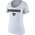 Raiders Nike Womens Cotton Lockup White Tee