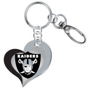 Raiders Swirl Heart Key Ring - Click to enlarge