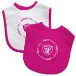Raiders Two Piece Pink Baby Bibs