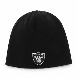Raiders Youth Black Uncuffed Knit Hat - Click to enlarge