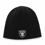 Raiders Youth Black Uncuffed Knit Hat