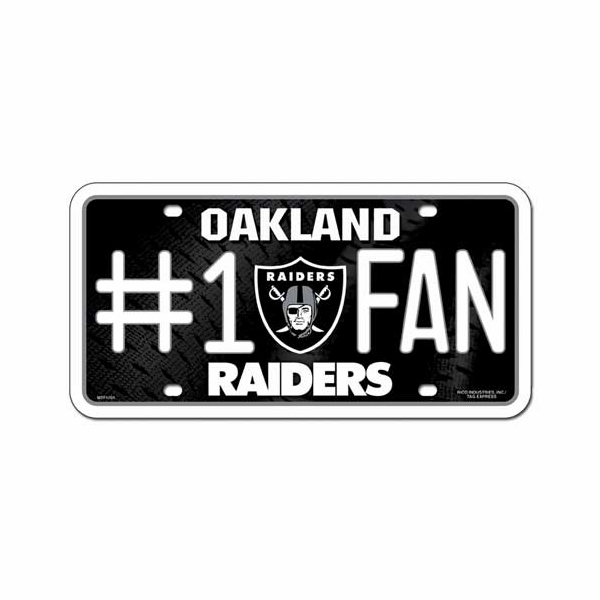 Raiders #1 Fan Metal License Plate