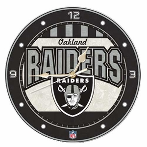 Raiders Art Glass Clock - Click to enlarge