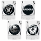 Raiders Four Pack Square Shot Glass Set