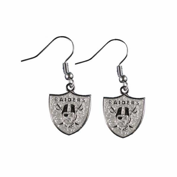 Raiders Glitter Dangle Earrings