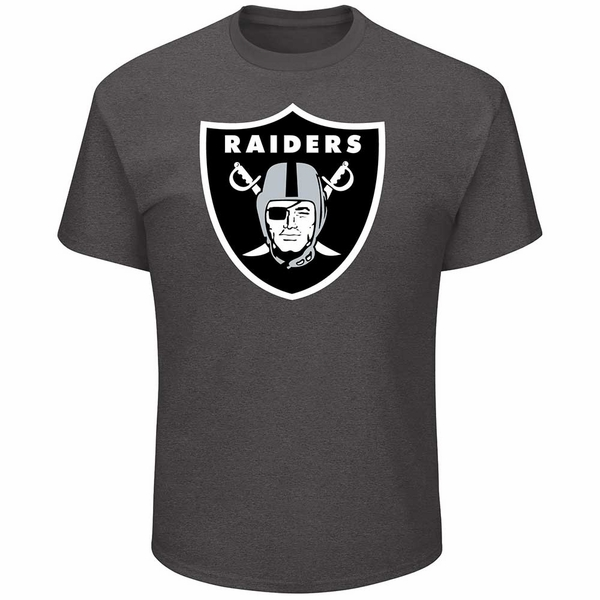 Raiders Majestic Big Shield Logo Charcoal Tee