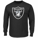 Raiders Majestic Big Shield Logo Long Sleeve Black Tee