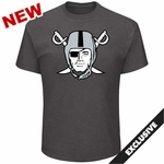 Raiders Majestic Pirate Logo Charcoal Tee