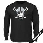 Raiders Majestic Pirate Logo Long Sleeve Black Tee