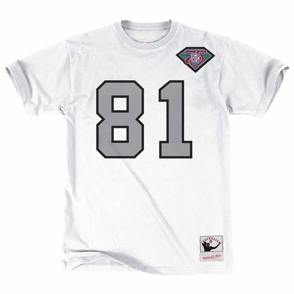 Raiders Mitchell & Ness Tim Brown Name & Number White Tee