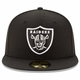 Raiders New Era 59Fifty Black Logo Fitted Cap