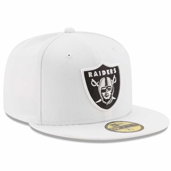 Raiders New Era 59Fifty White Logo Fitted Cap